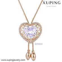 Xuping mujeres collar de oro en forma de corazón en línea China, 18k nueva joyería de imitación de diamante collar de piedra
