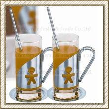 Sistema de tazas de café de cristal de acero inoxidable