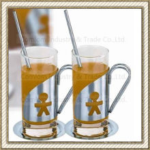 Stainless Steel Glass Coffee Cups Set