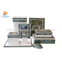 8pcs Luxury Blue Color Paua Shell Bathroom Accessory Sets