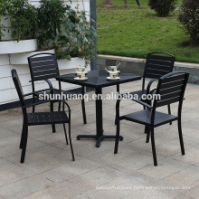 Modern outdoor wood furniture aluminum frame plastic wood table set outdoor furniture