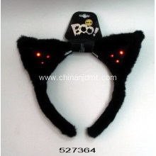 Black cat ear headband with lamps