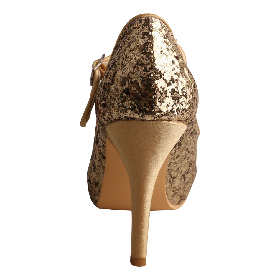 Ladies Gold Glitter Evening Shoes