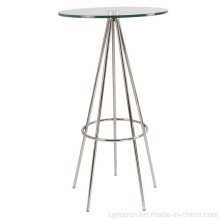 Bistro Glass High Round Bar Table with Stainless Legs (SP-BT650)