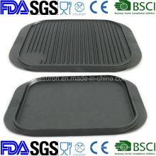 Nonstick Preseasoned Reversable Cast Iron Griddle Plate 35X25cm