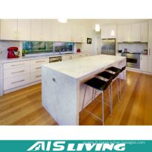 Armoires de cuisine brillantes en L avec îlot de cuisine (AIS-K257)