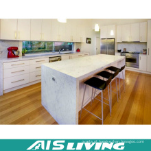 Armários de cozinha lustrosos da L-Forma com ilha de cozinha (AIS-K257)