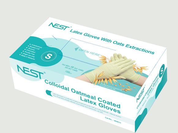 Colloidal Oatmeal Coated Latex Gloves