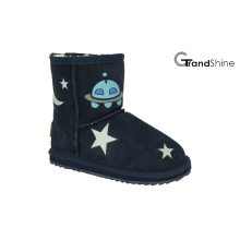 Kid′s Cow Suede Low Boot with Printed Stars