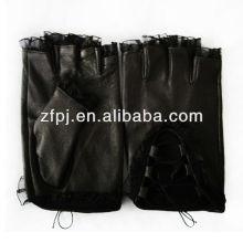 Motor Driving plain half finger lace gloves for women