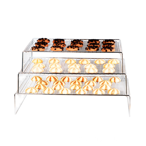 Kitchen metal baking cooling rack bread cake baking display rack stainless steel 3-layer cooling rack