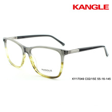 optical frame acetate eyewear spectacle frame combination 2 tone colors metal decoration