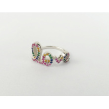 925 sterling silver fashion custom wholesale finger rainbow CZ letter love ring