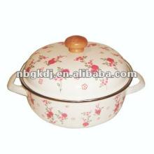 enamel stock pot with glass lid and bakelite knob
