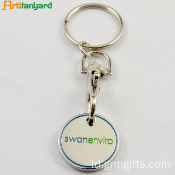 Trolley Coin Key Chain Dengan Logo Embossed
