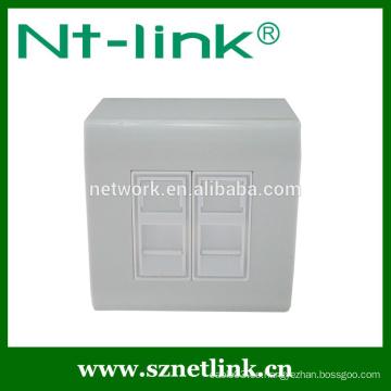 Placa de cara rj45 dual del puerto de la alta calidad con la caja inferior, conveniente para el enchufe rj45 del módulo trapezoidal