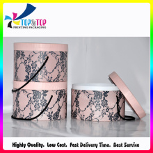 Pink Color Round Cosmetic Gift Box with Handle