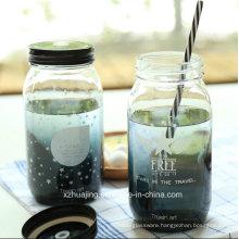 500ml 16oz Round Drinking Glass Mason Jar with Straw