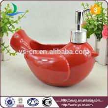 Pájaro rojo de cerámica de la decoración decorativa Lotion Dispenser