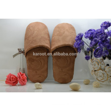 cheap soft personalized close toe white suede fabric hotel slipper