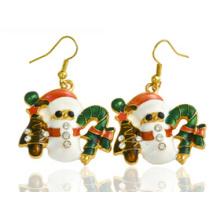 Bijoux de Noël / Boucle d'oreille de Noël / Noël bonhomme de neige (XER13376)