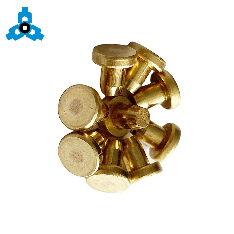 Solid Blind Rivets Brass Flat Round Head Metal Pin OEM Stock Support