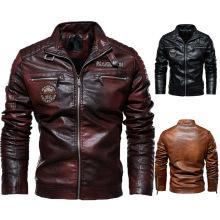 Veste en cuir doublée polaire avec logo personnalisé pour homme