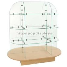 Freestanding Custom 4-Layer Bamboo Wood Base Baby Products Wholesale Shop Garment Glass Display Rack