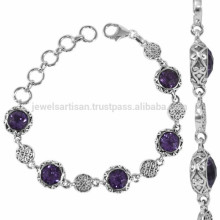 925 Sterling Silver with Purple Amethyst Gemstone Designer Bracelet for All Occasion