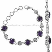 925 стерлингового серебра фиолетовый Аметист дизайнер gemstone Браслет для всех случаю