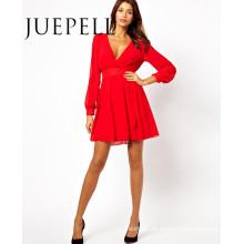 Mode V-Ausschnitt Kleid dünne Körper neuesten Kleid Designs