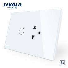 Livolo US / AU Prise de commutateur tactile standard avec panneau en verre en cristal blanc VL-C9C1EAR-11