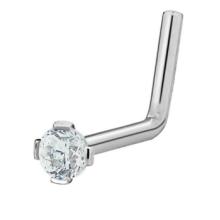 20G acero quirúrgico de 2 mm de circonio cúbico cristal en forma de L anillo de nariz