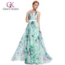 Grace Karin Sleeveless V-Neck Floral Print Pattern Chiffon Prom Dress GK000066-1