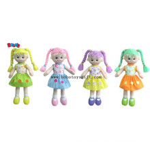 Softest Baby Toy Smiling Face Girl Stuffed 3D Toy in Colorful Hair