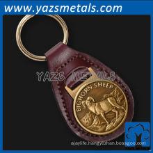 Casting bighorn sheep leather keychain