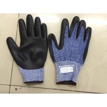 Blue Danima Nitrile Palm Coated Fake Foam Finished HDPE Gloves