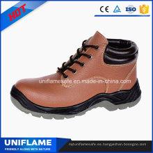 Zapatos de trabajo de seguridad en punta de acero rosa con tobillo y alto en piel de mujer