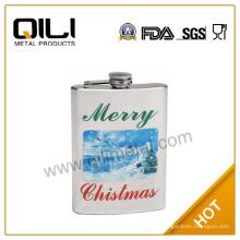 Personalizada frasco de la cadera, metal frasco con frascos de agua transferencia Navidad regalo
