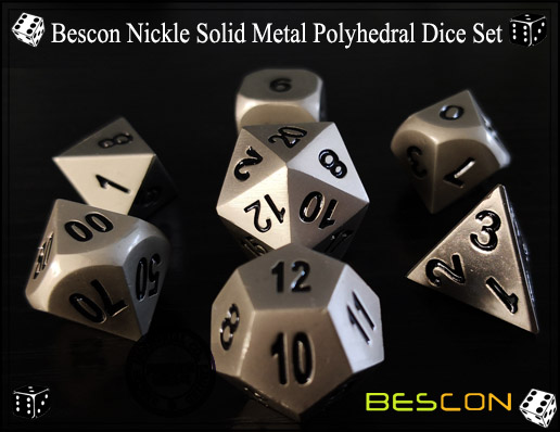 Bescon Nickle Solid Metal Polyhedral Dice Set-2