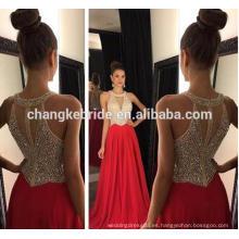 La nueva colección rebordeó el vestido de partido verdadero del vestido 2017 del baile de fin de curso de la gasa de la foto del halter