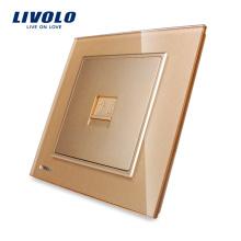 Livolo One Gang Золотая стеклянная панель Электрическая настенная телефонная розетка RJ11 VL-W291T-13