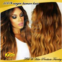 2015 Novo design natural olhando brasileiro peruca cheia do laço ombre peruca cheia do laço
