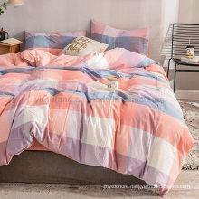 Home Textile Cotton Fabric Bedding Set Modern Style Wholesale Rainbow Plaid
