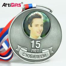 Animal Aluminum Blank Insert Custom Printed Award Medal With Printing Sticker