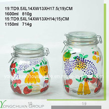 High Quality Hand Painted Glass Storage Jar with Clip Glass Lid Wholesale Canister