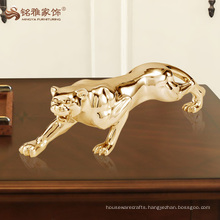 wholesale plated silver and gold polyresin animal leopard statue for home decor
