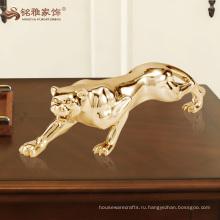 оптовая покрытием из серебра и золота полистоуна животных леопарда статуя для домашнего декора