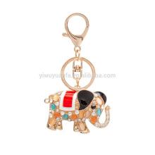 yiwu factory Fashion rhinestone metal elephant keychain