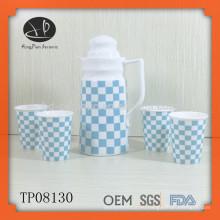 Бутылка воды высокого качества керамическая с чашкой, бутылка воды для дома, чайник воды, множества drinkware